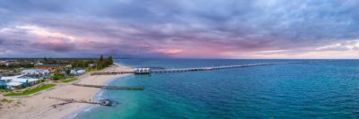 Aerial photo of the Busselton Jetty and Foreshore during sunrise